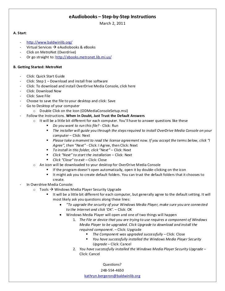 """eAudiobooks – Step-by-Step Instructions DATE @ """"MMMM d, yyyy"""" March 1, 2011<br />A. Start:<br /><ul><li>http://www.baldwin..."""
