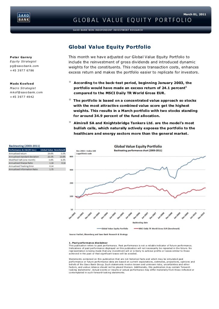 March 01, 2011                    Global Value Equity PortfolioPeter Garnry        This month we have adjusted our Global ...