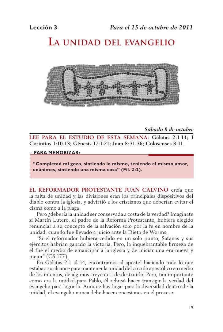Lección 3                            Para el 15 de octubre de 2011        la unidad dEl                       EvangElio   ...