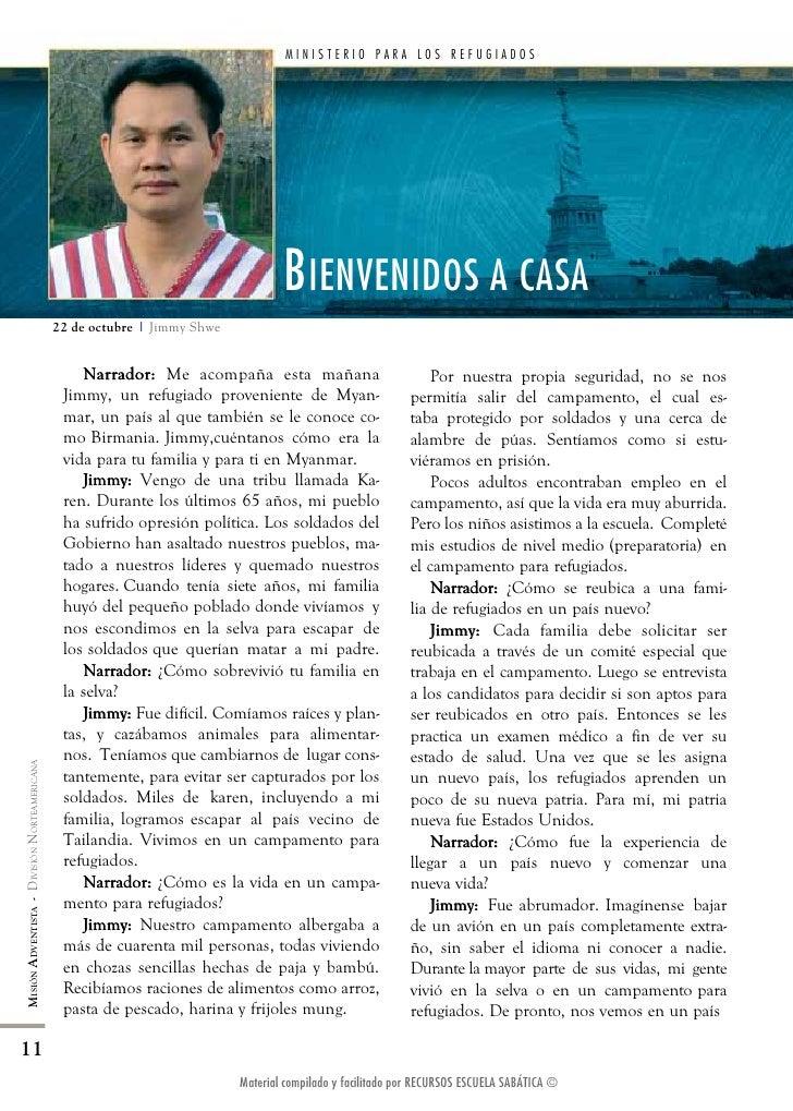 MINIsTERIO PARA LOs REfUGIADOs                                                                                   B IENVENI...
