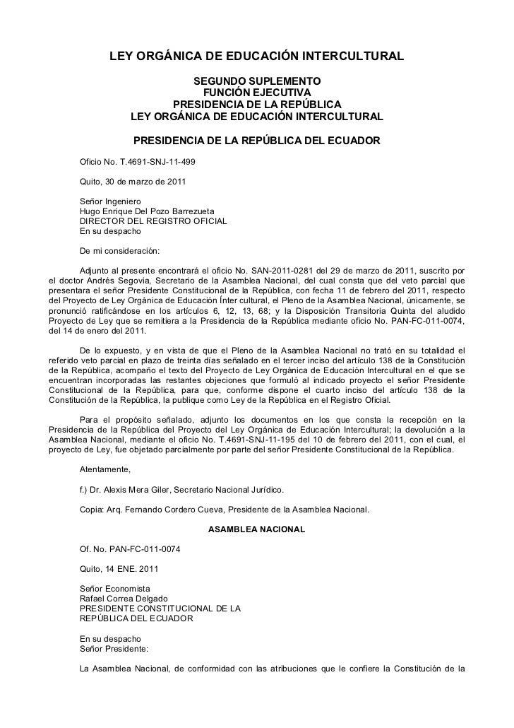 LEY ORGÁNICA DE EDUCACIÓN INTERCULTURAL                               SEGUNDO SUPLEMENTO                                 F...
