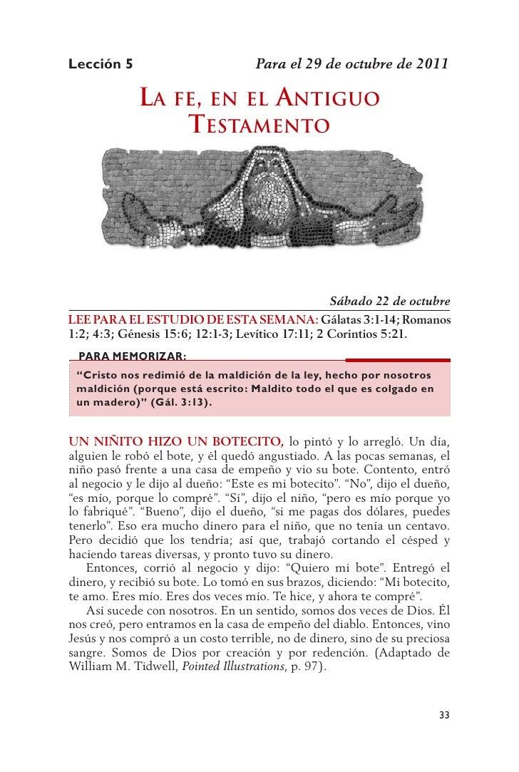 Lección 5                           Para el 29 de octubre de 2011             la fE, En El antiguo                 tEstamE...