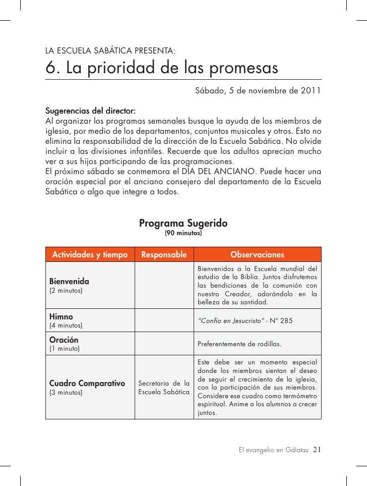 LA ESCUELA SABÁTICA PRESENTA:6. La prioridad de las promesas                                            Sábado, 5 de novie...