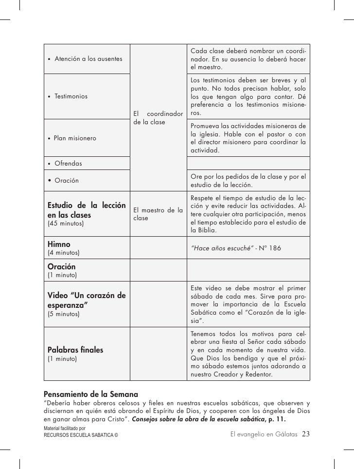 • Atención a los ausentes                                                Cada clase deberá nombrar un coordi-             ...