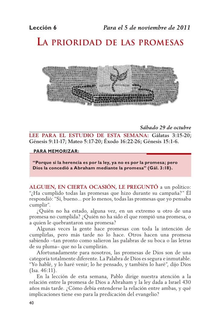 Lección 6                        Para el 5 de noviembre de 2011     la Prioridad                 dE las PromEsas          ...