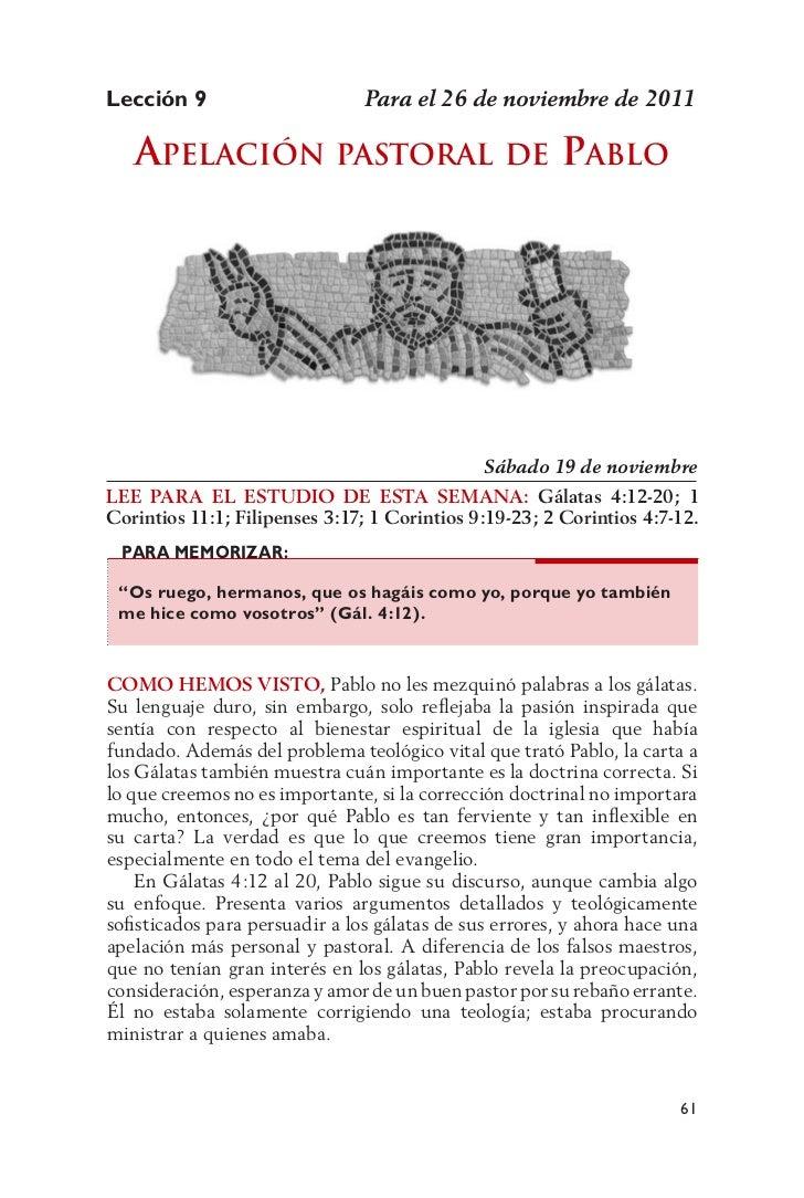 Lección 9                       Para el 26 de noviembre de 2011   aPElación Pastoral                            dE     Pab...