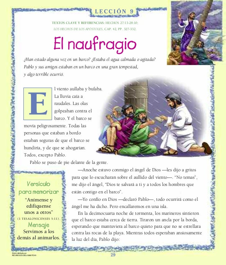 LECCIÓN 9                              TEXTOS CLAVE Y REFERENCIAS: HECHOS 27:13-28:10;                               LOS H...