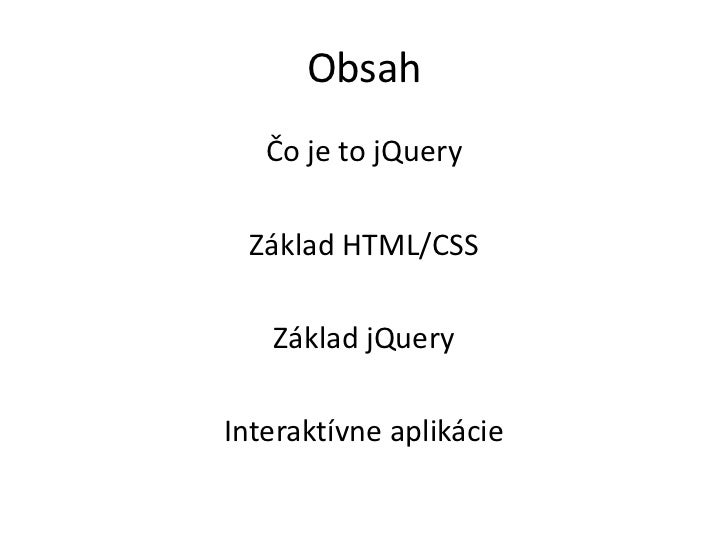 Základy jQuery Slide 2