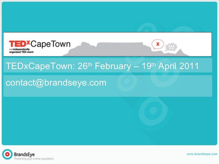 [email_address] TEDxCapeTown: 26 th  February – 19 th  April 2011