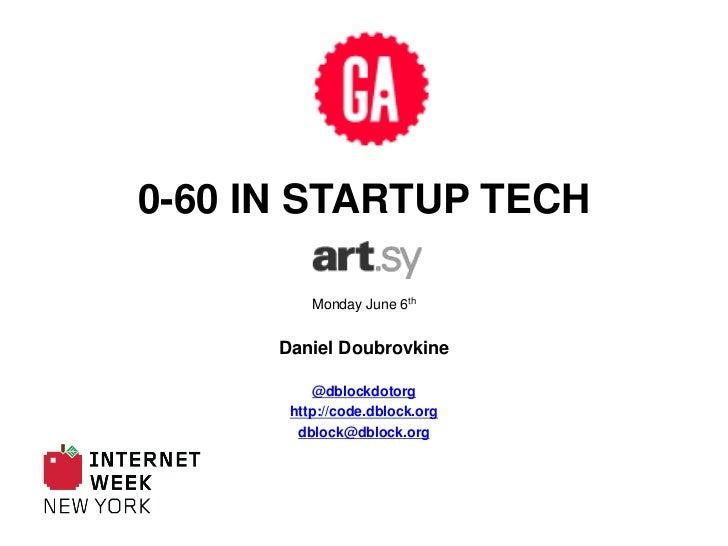 0-60 in Startup Tech<br />Monday June 6th<br />Daniel Doubrovkine<br />@dblockdotorg<br />http://code.dblock.org<br />dblo...