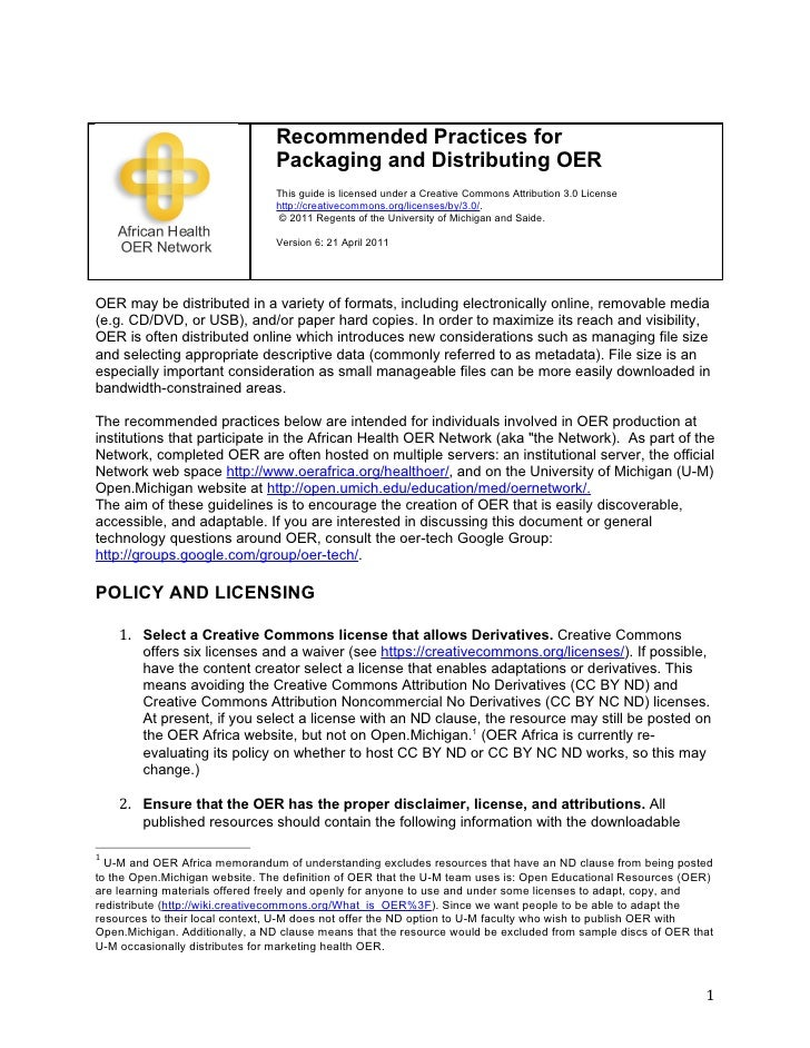 Recommended Practices for                                Packaging and Distributing OER                                Thi...