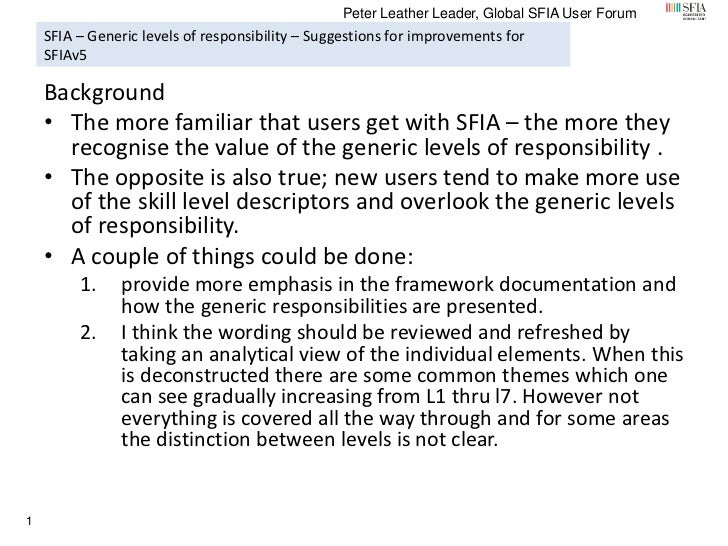 Peter Leather Leader, Global SFIA User Forum    SFIA – Generic levels of responsibility – Suggestions for improvements for...