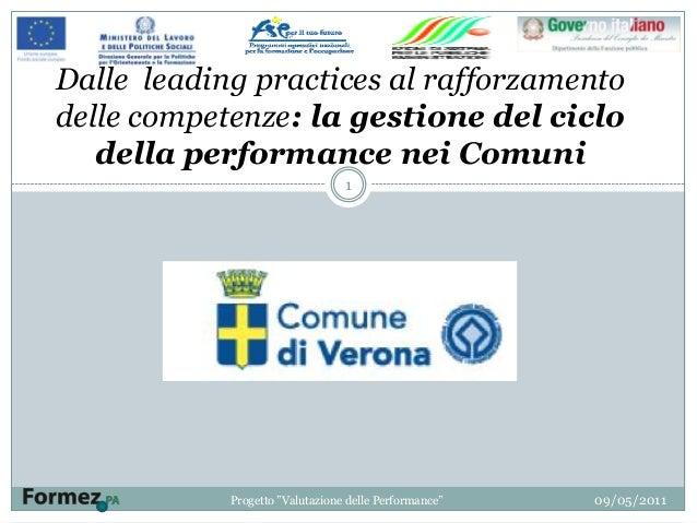 """09/05/2011Progetto """"Valutazione delle Performance"""" 1 Dalle leading practices al rafforzamento delle competenze: la gestion..."""