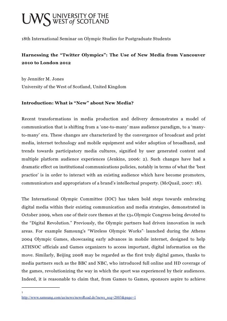 """18th International Seminar on Olympic Studies for Postgraduate StudentsHarnessing the """"Twitter Olympics"""": The Use of New M..."""