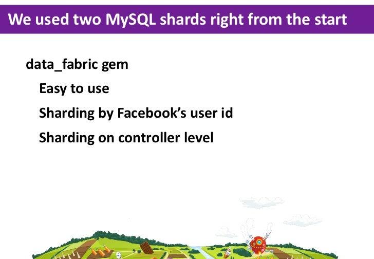 We  used  two  MySQL  shards  right  from  the  start  data_fabric  gem  	 Easy  to  use  	 Sharding  by  Facebook's  user...