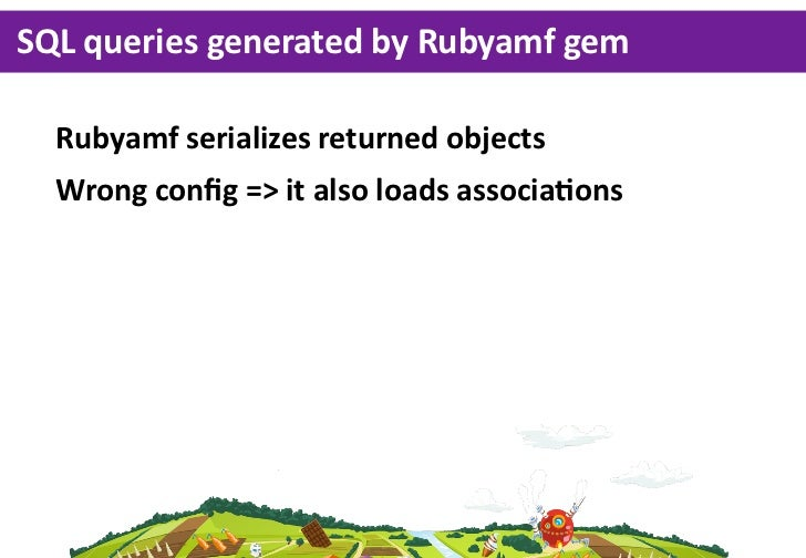SQL queries generated by Rubyamf gem  Rubyamf serializes returned objects  Wrong config => it also loads asso...