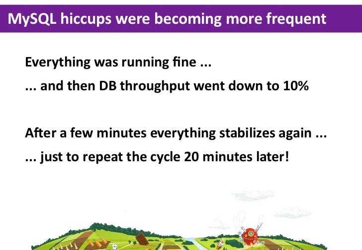 MySQL hiccups were becoming more frequent  Everything was running fine ...  ... and then DB throughput went ...
