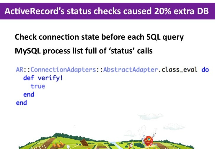 AcLveRecord's status checks caused 20% extra DB   Check connecGon state before each SQL query  MySQL process...