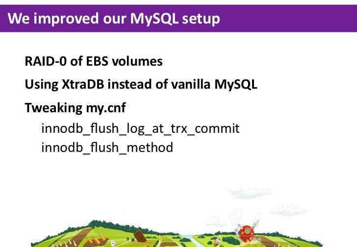 We improved our MySQL setup  RAID-‐0 of EBS volumes  Using XtraDB instead of vanilla MySQL  Tweaking my.cnf ...