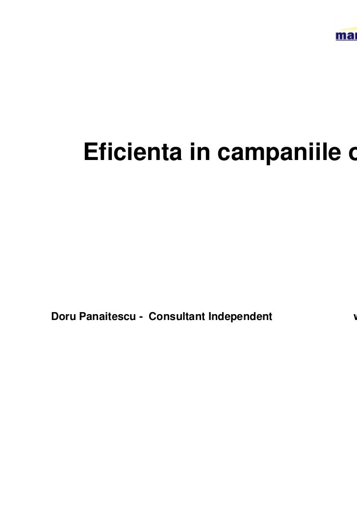 Eficienta in campaniile onlineDoru Panaitescu - Consultant Independent   www.marketeer.ro