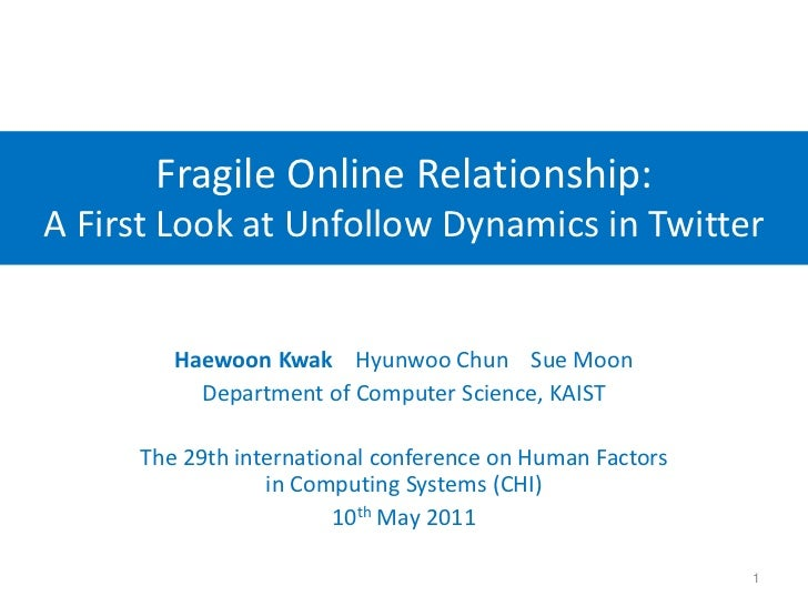 Fragile Online Relationship:A First Look at Unfollow Dynamics in Twitter<br />HaewoonKwakHyunwoo Chun    Sue Moon<br />Dep...