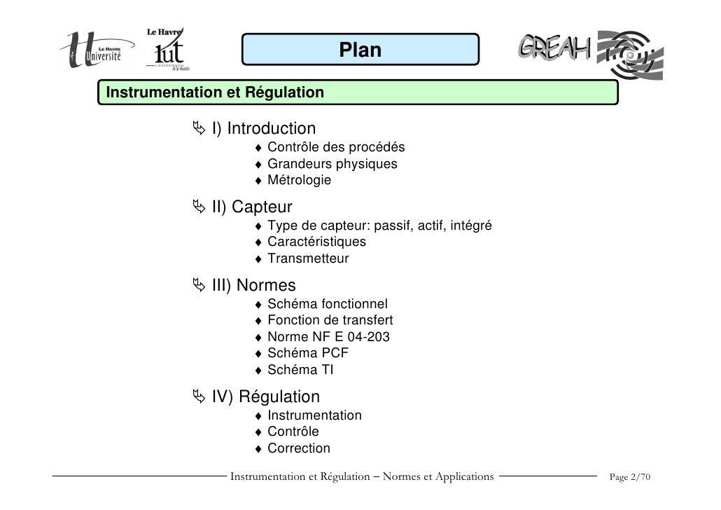 Instrumentation et régulation Slide 2