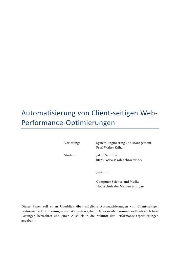 Automatisierung von Client-seitigen Web-Performance-Optimierungen                           Vorlesung:          System Eng...