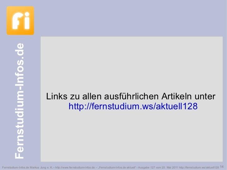 Links zu allen ausführlichen Artikeln unter  http://fernstudium.ws/aktuell128