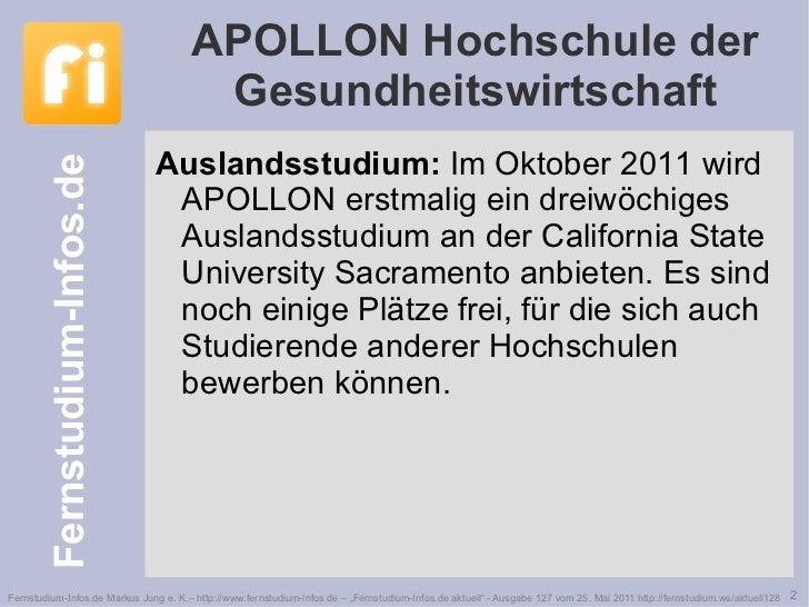 APOLLON Hochschule der Gesundheitswirtschaft <ul><li>Auslandsstudium:  Im Oktober 2011 wird APOLLON erstmalig ein dreiwöch...