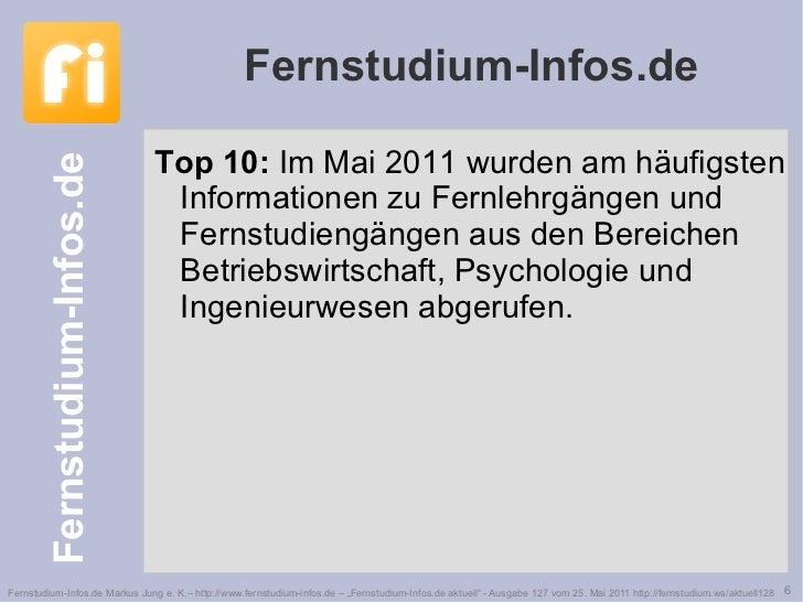Fernstudium-Infos.de <ul><li>Top 10:  Im Mai 2011 wurden am häufigsten Informationen zu Fernlehrgängen und Fernstudiengäng...