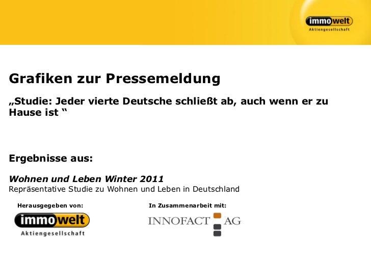 """Grafiken zur Pressemeldung""""Studie: Jeder vierte Deutsche schließt ab, auch wenn er zuHause ist """"Ergebnisse aus:Wohnen und ..."""