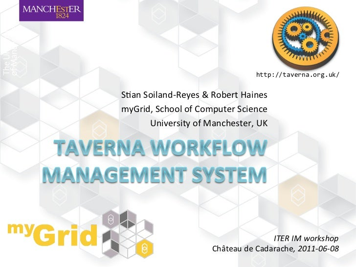 "http://taverna.org.uk/	  S""an	  Soiland-­‐Reyes	  &	  Robert	  Haines	  myGrid,	  School	  of	  Computer	  Science	       ..."