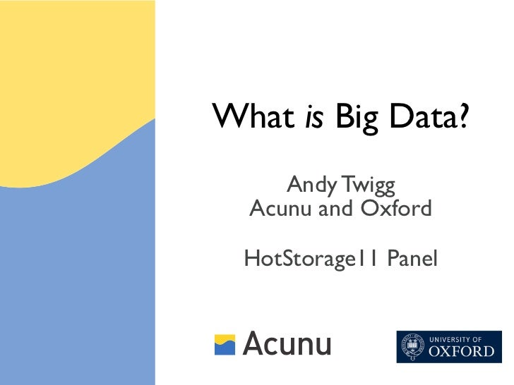 What is Big Data?     Andy Twigg  Acunu and Oxford  HotStorage11 Panel