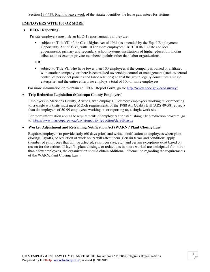 Hr Employment Law Compliance Guide For Az 501 C 3 Organizations