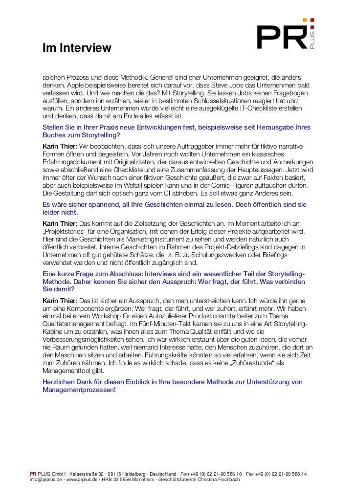 Storytelling: Interview mit Dr. Karin Thier Slide 2