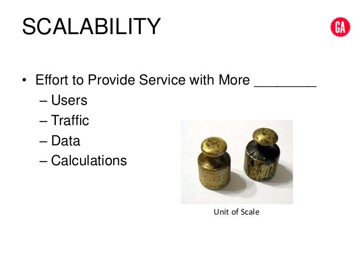SCALABILITY<br />Effort to Provide Service with More ________<br />Users<br />Traffic<br />Data<br />Calculations<br />Uni...
