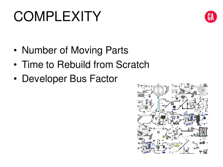 complexity<br />Number of Moving Parts<br />Time to Rebuild from Scratch<br />Developer Bus Factor<br />