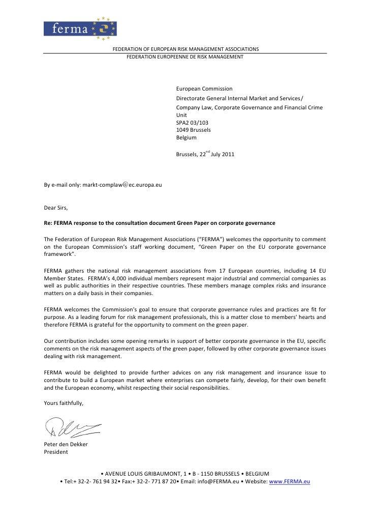 FEDERATION OF EUROPEAN RISK MANAGEMENT ASSOCIATIONS                               FEDERATION EUROPEENNE DE RISK MANAGEMENT...