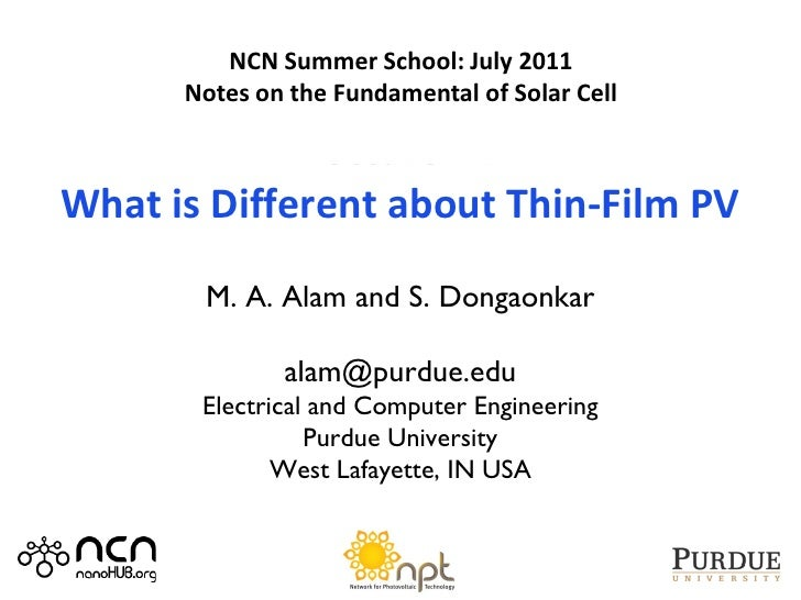 2011 NCN@Purdue-Intel Summer School         Notes Summer School: July 2011          NCN on Photovoltaic Devices       Note...