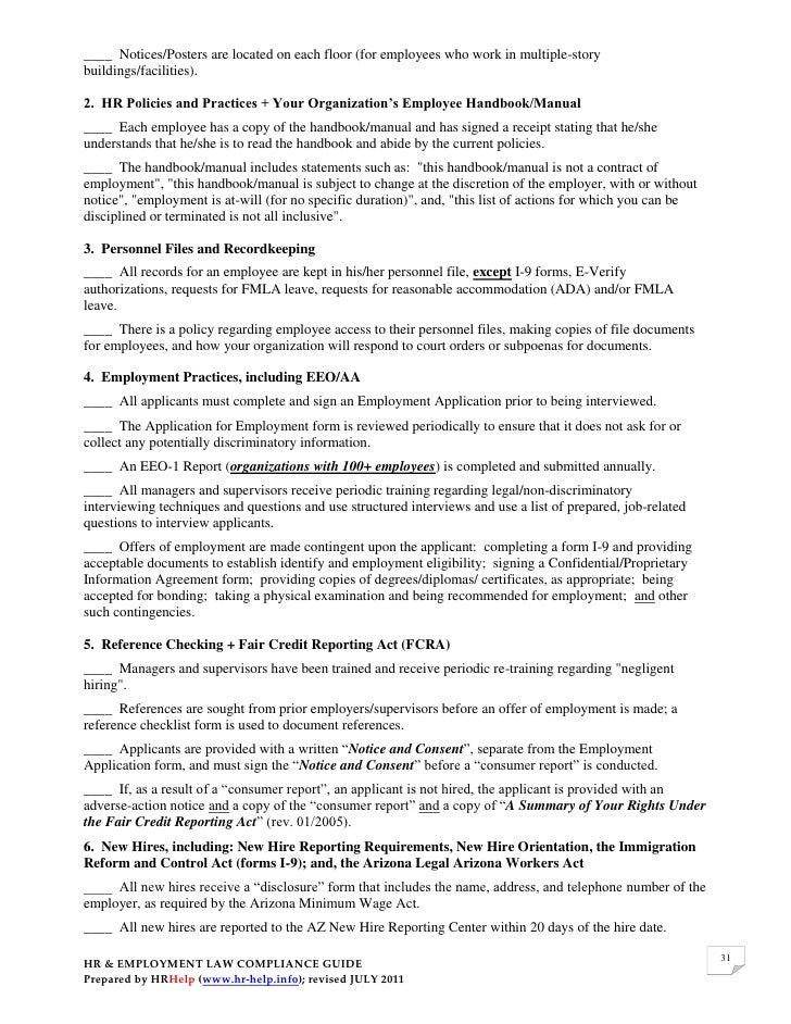 Hr Amp Employment Law Compliance Guide For Arizona Employers