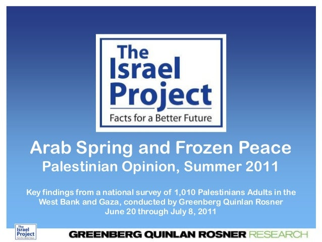Arab Spring and Frozen Peace Palestinian Opinion, Summer 2011 Key findings from a national survey of 1,010 Palestinians Ad...