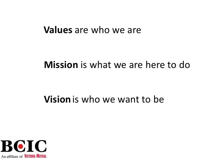 Values arewhoweareMission iswhatweareheretodoVision iswhowewanttobe