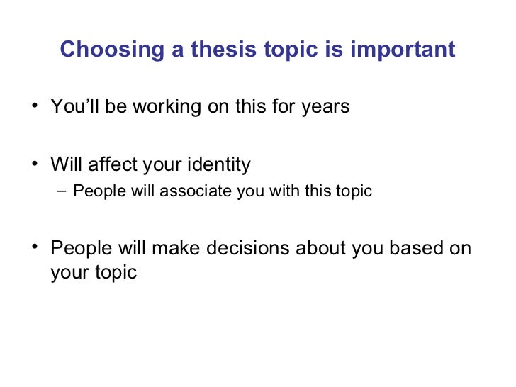Selecting a Thesis Topic