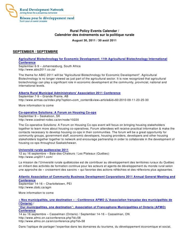 Rural Policy Events Calendar /                             Calendrier des événements sur la politique rurale              ...