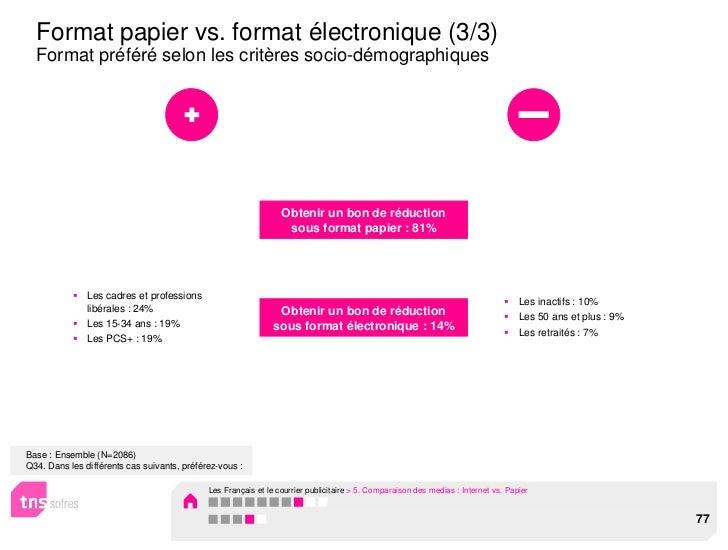 Format papier vs. format électronique (3/3)  Format préféré selon les critères socio-démographiques                       ...