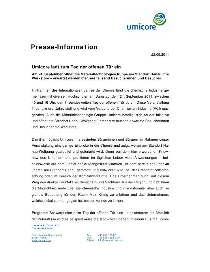 Presse-Information                                                                          22.09.2011Umicore lädt zum Tag...