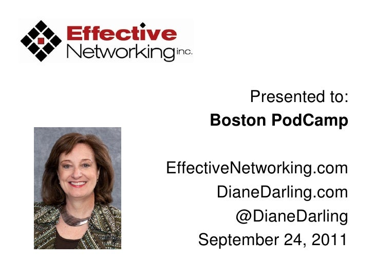 Presented to:     Boston PodCampEffectiveNetworking.com        DianeDarling.com          @DianeDarling    September 24, 2011
