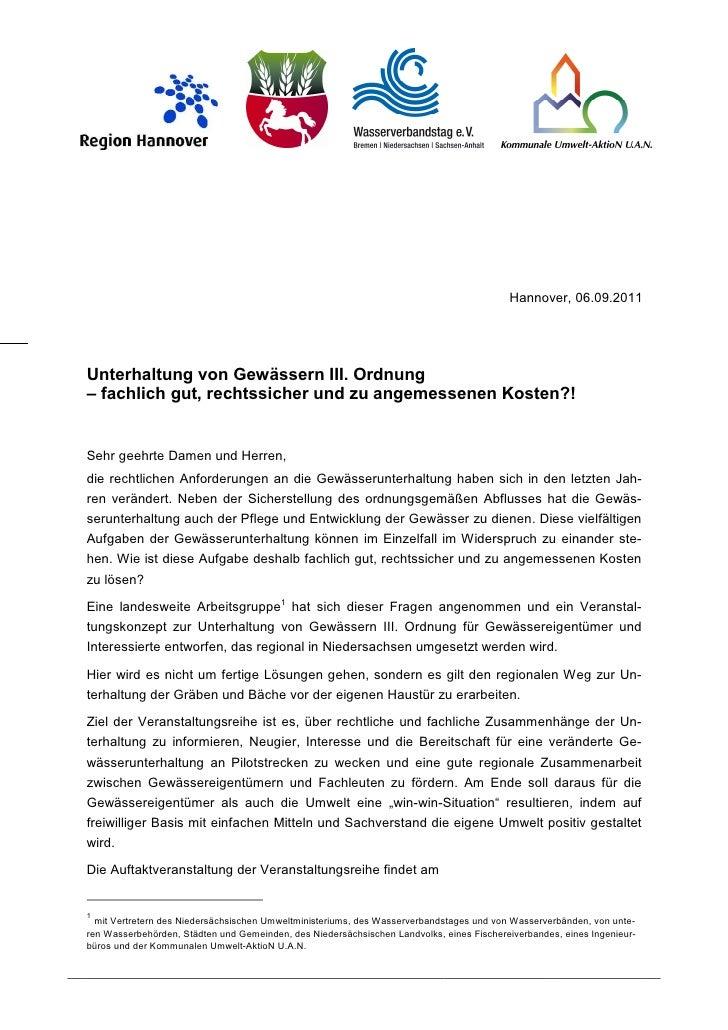 Hannover, 06.09.2011Unterhaltung von Gewässern III. Ordnung– fachlich gut, rechtssicher und zu angemessenen Kosten?!Sehr g...