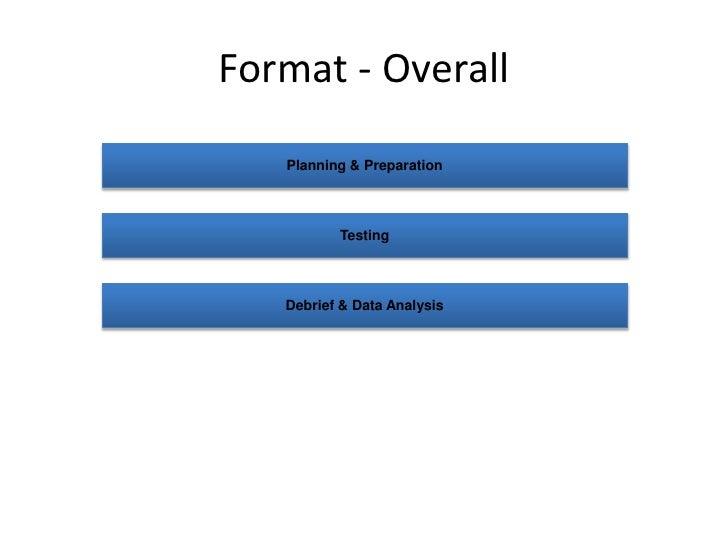 Format - Overall<br />Planning & Preparation<br />Testing<br />Debrief & Data Analysis<br />