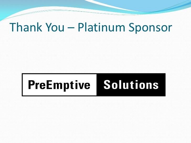 Thank You – Platinum Sponsor